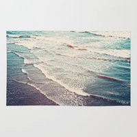 waves Area & Throw Rugs featuring Ocean Waves Retro by Kurt Rahn