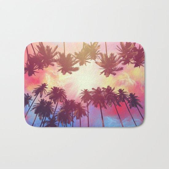 summer sunset palms Bath Mat