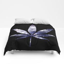 Weed : High Times dark blue Galaxy Comforters