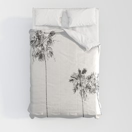 Minimal Black and White Palm Trees Comforters