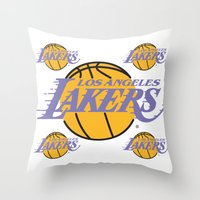 lakers Throw Pillows featuring Lakers by Dexter Gornez