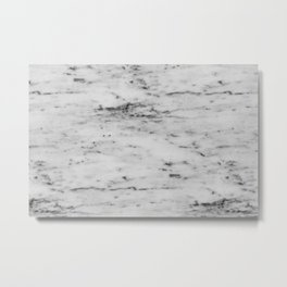 White Marble with Black Flecks Metal Print