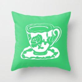 Green Rose Teacup Printmaking Art Throw Pillow