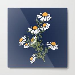 Chamomile Collection - Tea Time Blue Metal Print