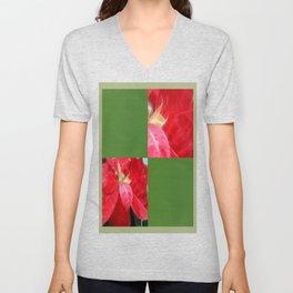 Mottled Red Poinsettia 2 Blank Q5F0 Unisex V-Neck