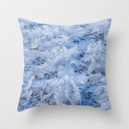 Snowflakes on Ice // Frosty Frozen Morning Throw Pillow