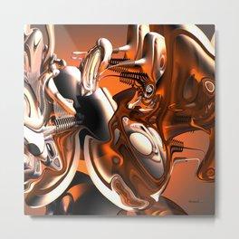 A Distorted Orange Metal Print
