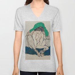 Egon Schiele - Crouching Woman with Green Headscarf Unisex V-Neck