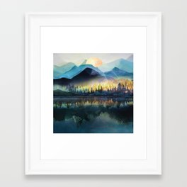 Mountain Lake Under Sunrise Framed Art Print