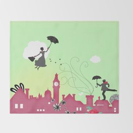 Mary Poppins, London Throw Blanket
