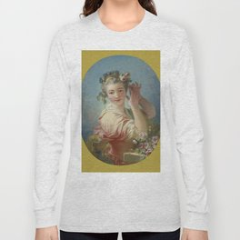 "Jean-Honoré Fragonard ""A Young Woman Adorning Her Powdered Coiffure With a Spray of Roses"" Long Sleeve T-shirt"