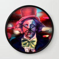 willy wonka Wall Clocks featuring Wonka by Phillip Aceves