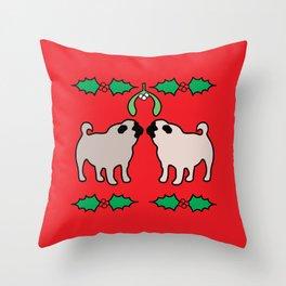 christmas pugs and kisses Throw Pillow