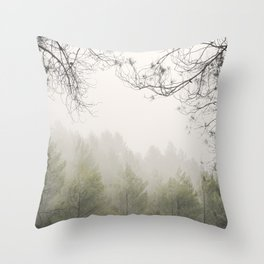 Serenity. Foggy morning into the woods Throw Pillow