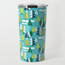 Trees - Xmas Pattern (Blue) Travel Mug