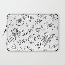 Eat Your Veggies - in black and white Laptop Sleeve