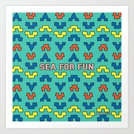 Sea for fun (green) Art Print