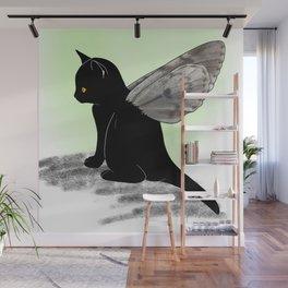 Black Kitten Fairy Wall Mural