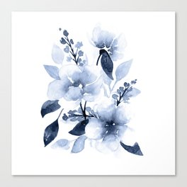 Navy Watercolor Flowers Canvas Print