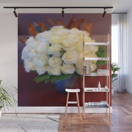 White roses in a blue vase  Wall Mural