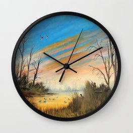 Evening Duck Hunters Wall Clock