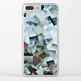 Geometric Stacks Turquois Cranberry Clear iPhone Case