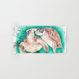 Sea Turtles Vintage Map Hand & Bath Towel