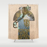 spain Shower Curtains featuring Steampunk Spain by DV arttitude