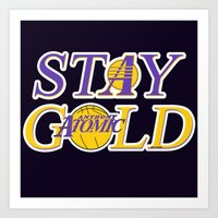lakers Art Prints featuring Stay Gold by Ant Atomic