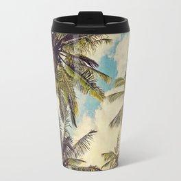 Vintage Blue Hawaii Palm Trees Travel Mug