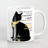 egyptian Mugs featuring Egyptian Cat by SwanniePhotoArt