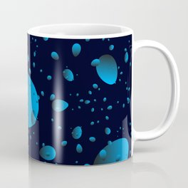 Large blue drops and petals on a dark background in nacre. Coffee Mug