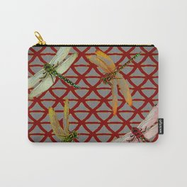 DRAGONFLIES  RED-GREY ORIENTAL SCREEN ART Carry-All Pouch