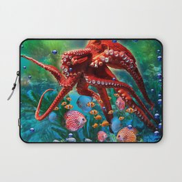 Red Octopus with Fish Laptop Sleeve