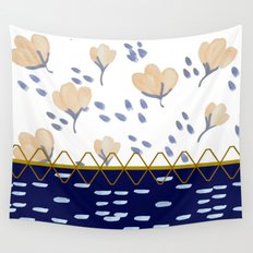 Stitched poppies Wall Tapestry