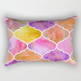Moroccan watercolor golden sunrise tiles Rectangular Pillow
