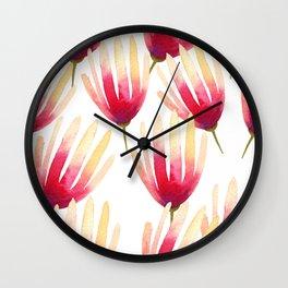 Pink Protea Flower Pattern Wall Clock