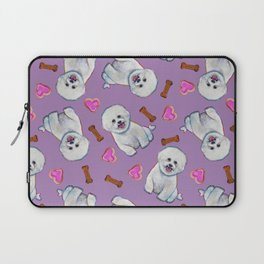 Bichon Frise Love Pattern on Lavender Laptop Sleeve