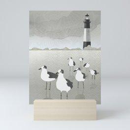 Seagulls Lighthouse Mini Art Print