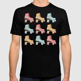 Vintage Roller Skates in Pastel Mint, Blush Pink and Mustard Color, Retro Skating Shoes Pattern  T-shirt