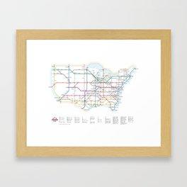 Interstate Highways as a Subway Map Framed Art Print
