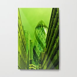 the Gherkin In Green Metal Print
