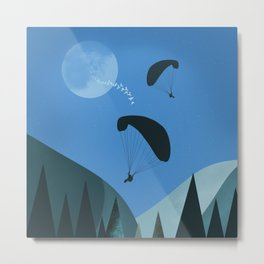 Landscape with Paragliders Metal Print