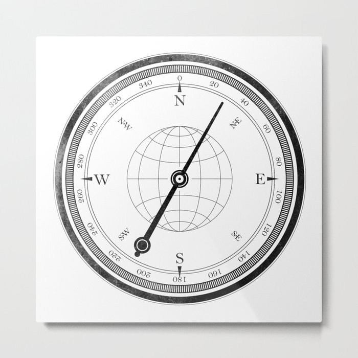 Textured Compass on White Metal Print