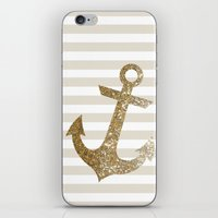 gold glitter iPhone & iPod Skins featuring GLITTER ANCHOR IN GOLD by colorstudio
