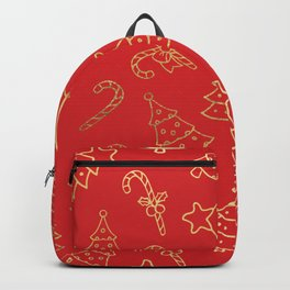 Elegant Christmas Red Faux Gold Foil Candy Cane Tree  Backpack