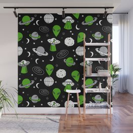 Alien outer space cute aliens french fries rad sodas pattern print black Wall Mural