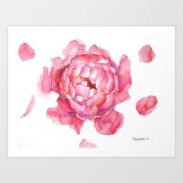 Blush Pink Peony Faux Art Print