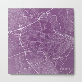 Augusta Map, USA - Purple Metal Print