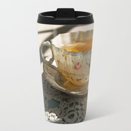 Tea Cup on Lace Travel Mug
